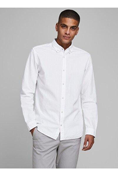 Jack & Jones Uzun Kol Slim Fit Düz Beyaz Erkek Gömlek
