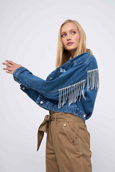 Superb Sisters Kadın Mavi Taşlı Kot Ceket