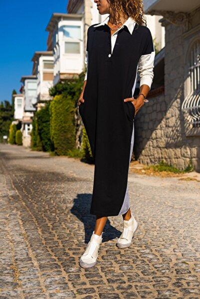 Güneşkızı Kadın Siyah Polo Yaka Color Block Uzun Salaş Eşofman Elbise GK-TD2014