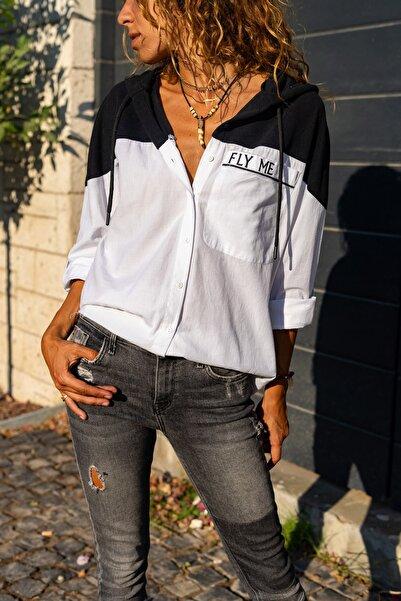 Güneşkızı Kadın Siyah Üstü Kapüşonlu Cebi Nakışlı Color Block Poplin Gömlek GK-AYN1864
