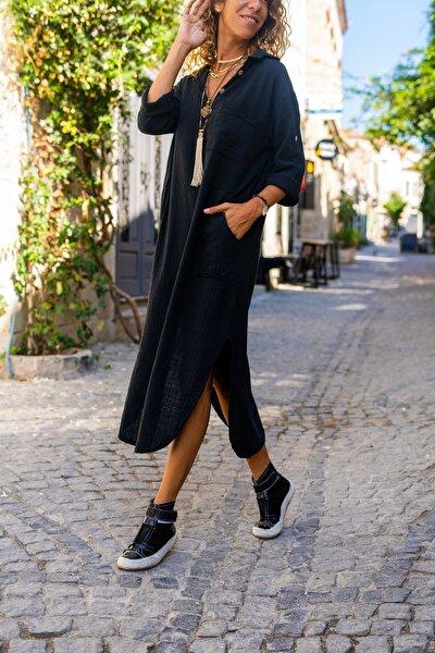 Güneşkızı Kadın Siyah Yıkamalı Keten Yarım Patlı Cepli Elbise GK-RSD2083