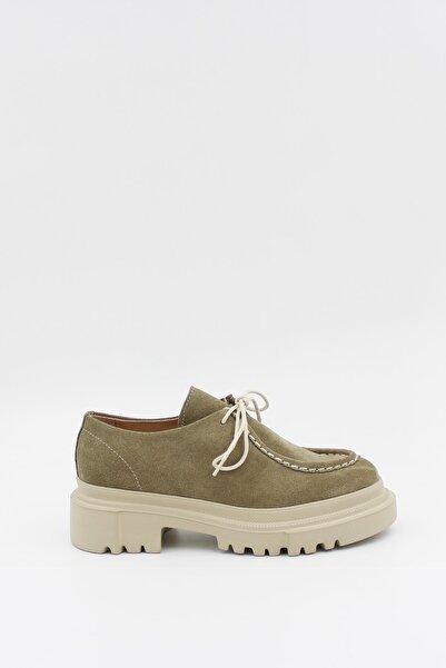 West To West Yeşil Süet Deri Kadın Günlük Kalın Taban Bağcıklı Ayakkabı