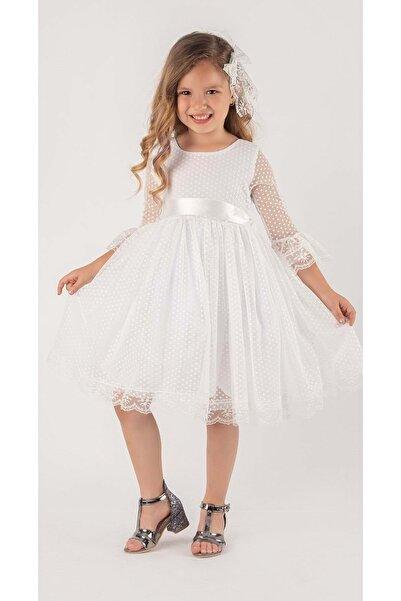 Mnk Beyaz Fransız Dantel Tokalı Kız Çocuk Elbise