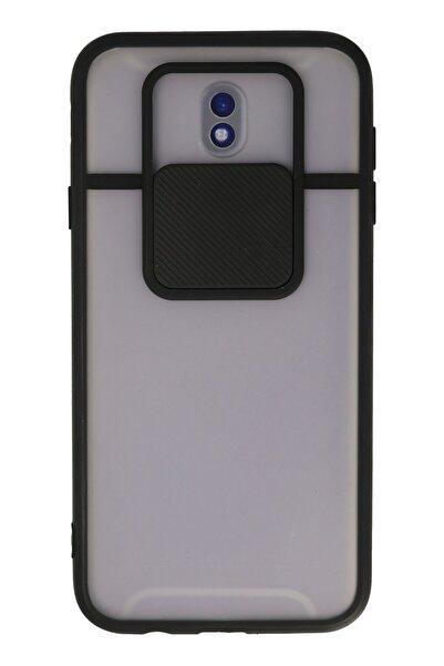 NewFace Samsung Galaxy J7 Pro / J730 Kılıf Palm Buzlu Kamera Sürgülü Silikon - Siyah