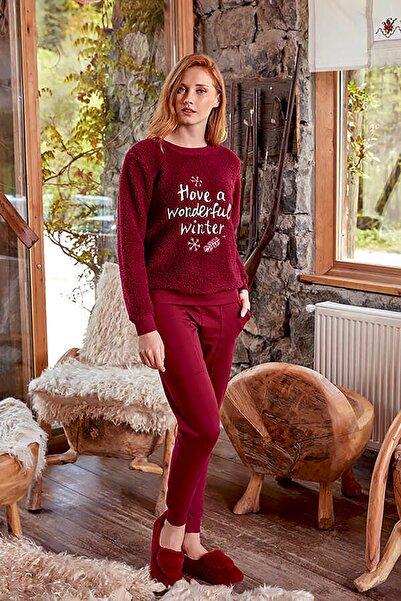 Berrak 632 Bordo Kadın Pamuklu Pijama Takımı