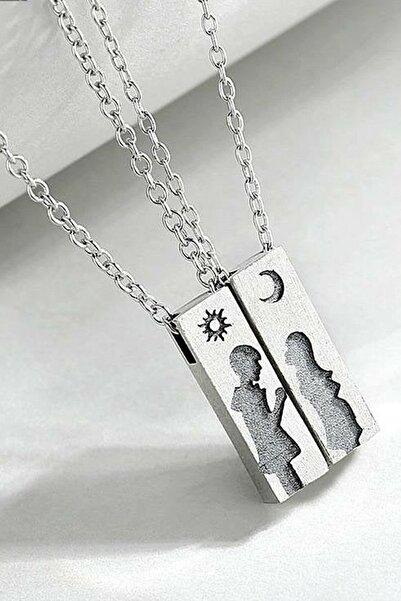 Eva Jewelry Ay Ve Güneş Motifli Gümüş Kaplama Çift Kolye
