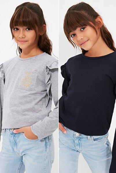 TRENDYOLKIDS Lacivert-Gri 2'li Paket Cep Detaylı Fırfırlı Kız Çocuk Örme T-Shirt TKDAW22TS0115