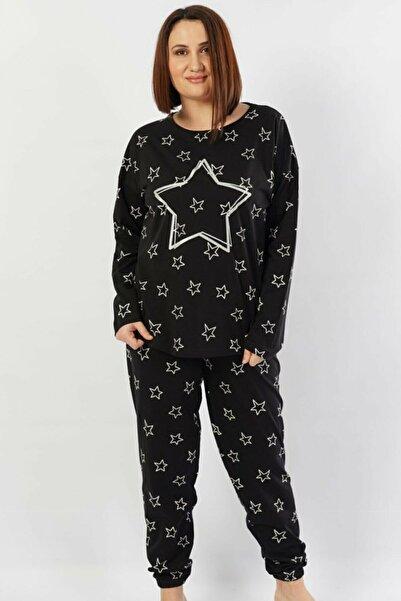 VİENETTA Kadın Siyah Pamuklu Büyük Beden Pijama Takımı