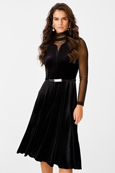 Ekol Tül Detaylı Kadife Elbise