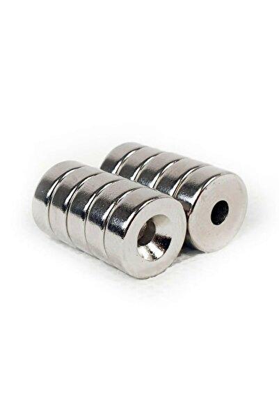 Dünya Magnet 5 Adet D12m X 8/4mm X 5mm Havşa Delikli Güçlü Neodyum Mıknatıs