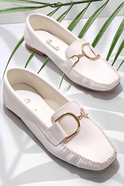 Bambi Beyaz Kadın Loafer Ayakkabı K01542030509