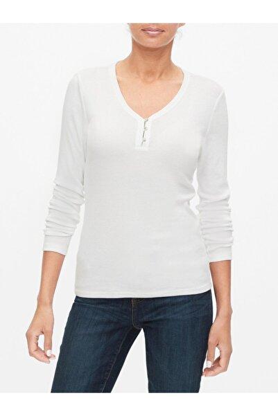 GAP Kadın Beyaz Henley Uzun Kollu T-shirt