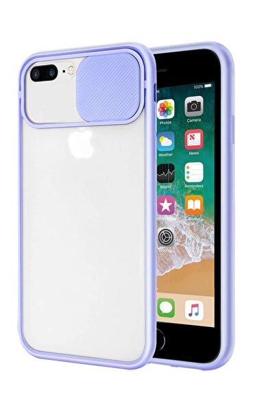 sepetzy Apple Iphone 7 Plus Uyumlu Kılıf Slider Kamera Korumalı Arkası Şeffaf Buzlu Kapak - Lila