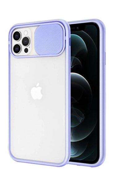 sepetzy Apple Iphone 12 Pro Uyumlu Kılıf Slider Kamera Korumalı Arkası Şeffaf Buzlu Kapak - Lila