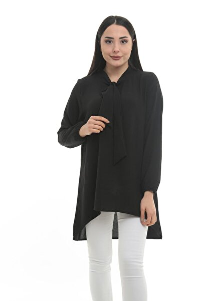 StoreBraavos Fular Detaylı Aerobin Siyah Kadın Tunik