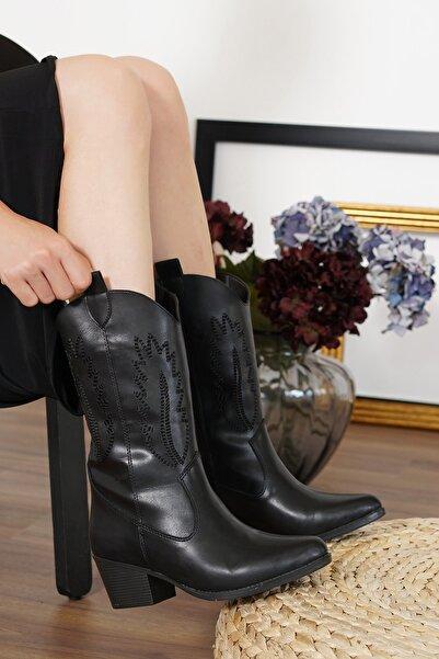 lmn ayakkabı Lmn Siyah Western,dekoratif Nakışlı,kovboy Kadın Çizme