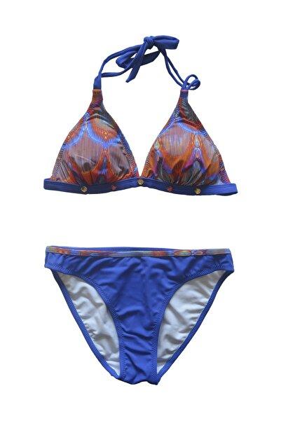Endeep Kadın Saks Mavi Desenli Üçgen Bikini Takımı