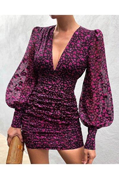 Özel Tasarım V Yaka Bodycon Elbise Çiçek Mini Elbise Akşam Parti Elbise