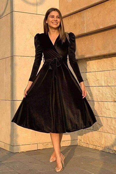 Elbise Delisi Siyah Karpuz Kol Kruvaze Kadife Kuşaklı Büyük Beden Elbise