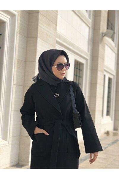 Prilika Kadın Siyah Kuşaklı Astarlı Cepli Uzun Oversize Kaşe Kaban