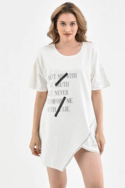 Modkofoni Yuvarlak Yaka Şerit Taşlı Ve Asimetrik Kesimli Beyaz Kadın Bluz