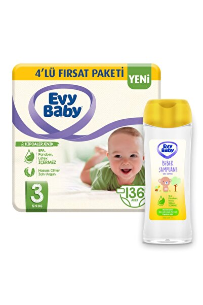 Evy Baby Bebek Bezi 3 Beden Midi 136 Adet Ve Bebek Şampuanı 250 ml