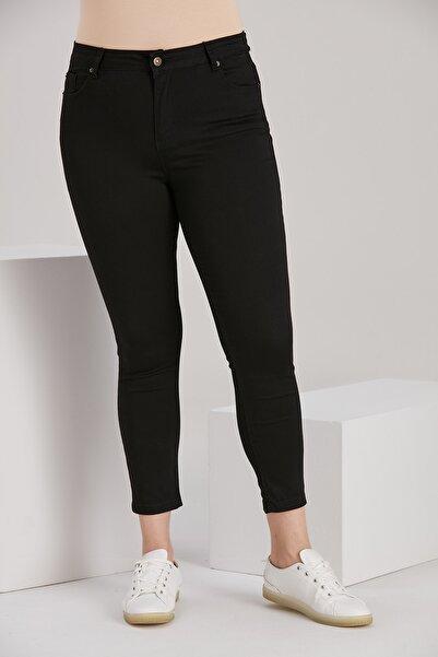 RMG Kadın Siyah Büyük Beden Bilek Paça Pantolon