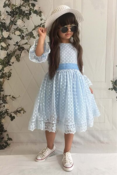 Mnk Mavi Şapkalı Dantelli Kız Çocuk Elbise