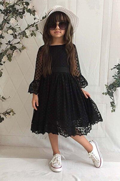 Mnk Siyah Şapkalı Dantelli 6 Yaş Kız Çocuk Elbise