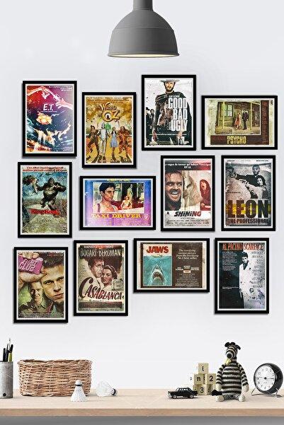 Tontilika 12 Parça Çerçeve Görünümlü Retro Vintage Filmler Temalı Mdf Tablo Seti (80x80 Cm)