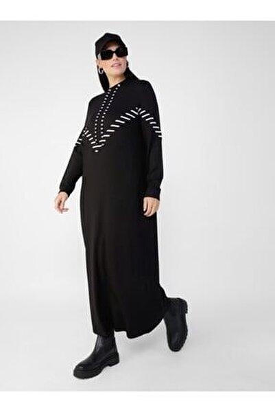 Kadın Beyaz Büyük Beden Doğal Kumaşlı Yakası Kuş Gözü Detaylı Elbise  1792741