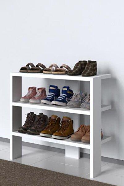 Mimilos Ayakkabılık 3 Katlı Raflı Bölmeli Ayakkabı Dolabı Portatif Modüler Çok Amaçlı Raf Dolap Beyaz
