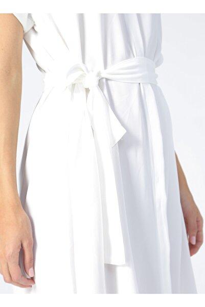 Fabrika Gömlek Yaka Düz Ekru Kadın Elbise