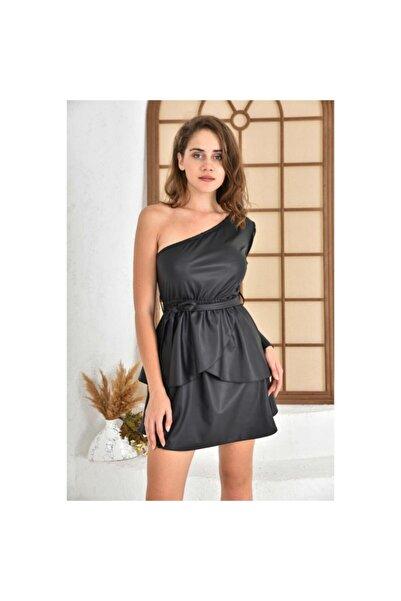İroni Tek Omuzlu Deri Görünümlü Elbise