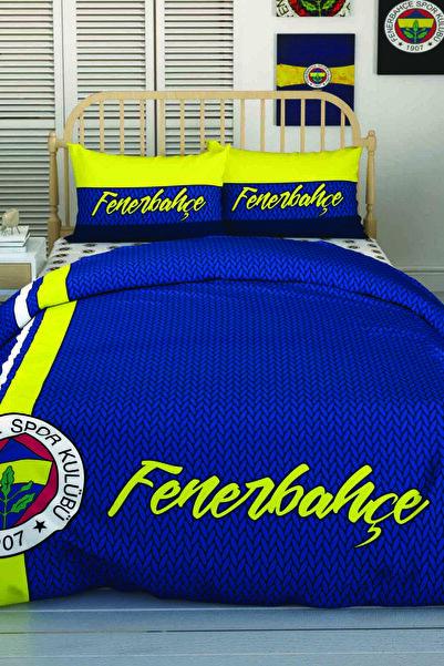 Taç Lisanslı Çift Kişilik Nevresim Takımı Fenerbahçe Striped
