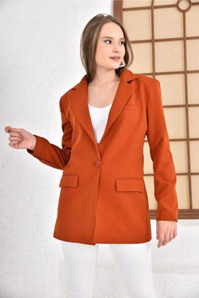 İroni Tek Düğmeli Blazer Ceket