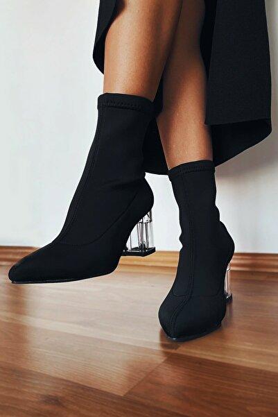 Brc Shoes Kadın Siyah Esnek Dalgıç Kumaşlı Çorap Çizme Bot Şeffaf Topuklu