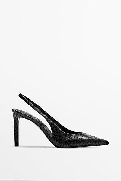 Massimo Dutti Desenli Deri Arkası Açık Topuklu Ayakkabı
