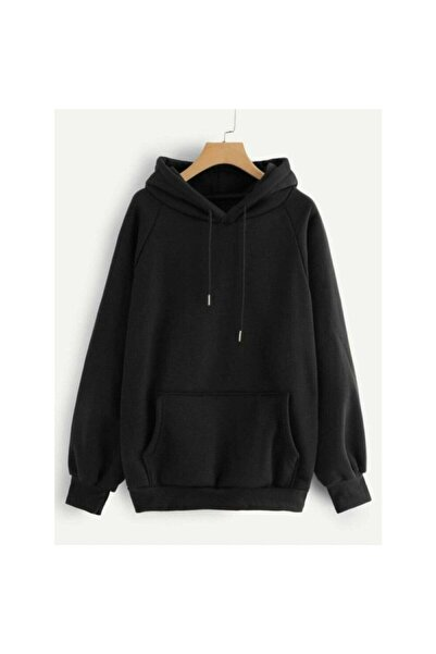 İST MODA Unisex Siyah Düz Basic Sweatshirt