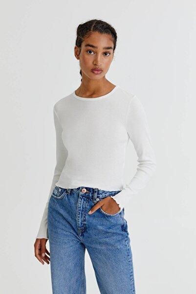 Pull & Bear Uzun Kollu Basic Fitilli T-Shirt
