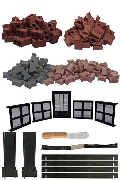 sarıhan Pro Minyatür Ev Seti- Delikli Tuğla + 4 Pencere Ve 1 Adet Kapı