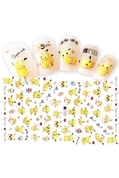 Nail Art Tattoo Sarı Minik Kedi Tırnak Dövmesi Tırnak Tattoo Nail Art Tırnak Sticker