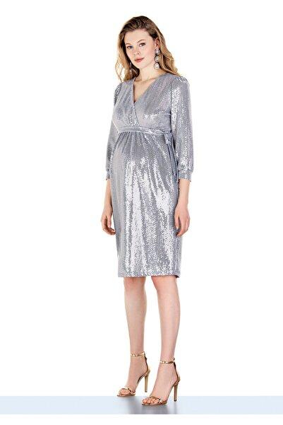 Ebru Maternity Kadın Gri  Gümüş Pullu Abiye Hamile Elbisesi