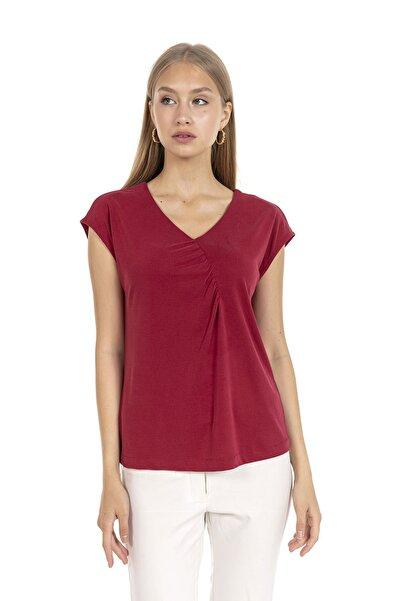 GİA&CI Kadın Bordo Renk Önden Detaylı Büzgülü Düşük Kol V Yaka T-shirt