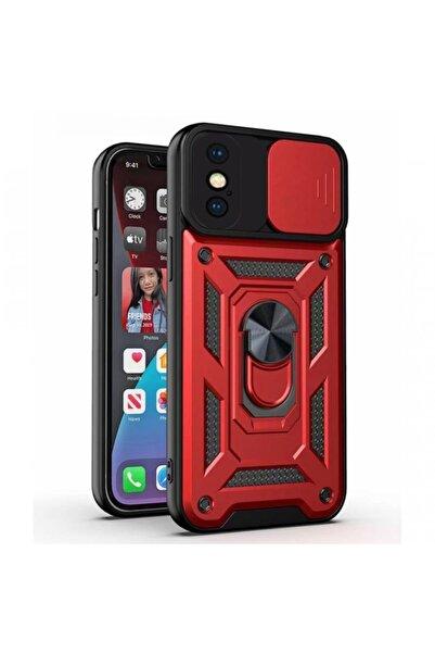 Times Bazaar Iphone X Max / Xs Max Uyumlu Sürgülü Kamera Korumalı Zırh Tank Telefon Kılıfı - Kırmızı