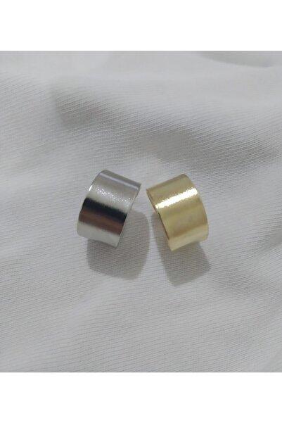 One-Hope Fashion Unisex Ikili Gold Ve Gümüş Düz Eklem Yüzüğü Seti