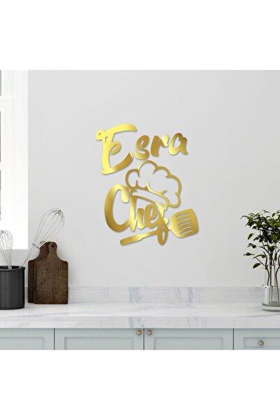enozeli 40x31 Cm Chef Yazılı Isimli Mutfak Süsü Altın
