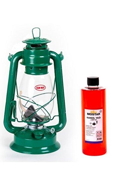 ŞEHRİMOSTARKIRK1 Gemici Feneri Yeşil Nostaljik Ortaboy-400 Ml Kokusuz Yağ Hediyeli