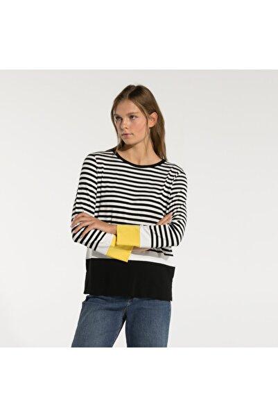 Nautica Nautıca Kadın Siyah Uzun Kollu Çizgili T-shırt