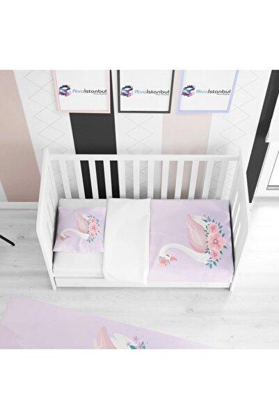 Tropikhome Pembe Çiçekli Kuğu Çocuk Yatak Örtüsü